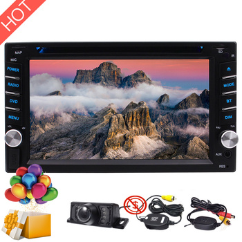 "Double 2 Din HD Video FM AM Car Radio 6.2"" Touchscreen Head Unit Bluetooth MP5 Stereo DVD Player Subwofer SWC Wireless Camera SD"