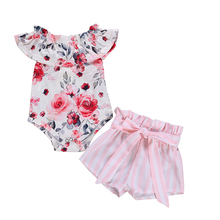 2Pcs Newborn Infant Baby Girls Floral Off Shoulder Ruffle Romper Large Bow Tie Striped Short Pants Sunsuit Outfit Clothes Set недорого