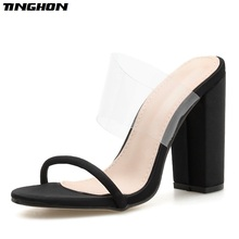 TINGHON PVC Gladiator Summer Fashion Ladies Slipper Transparent Shallow Square Hight Heel Women Shoes Wear Outside