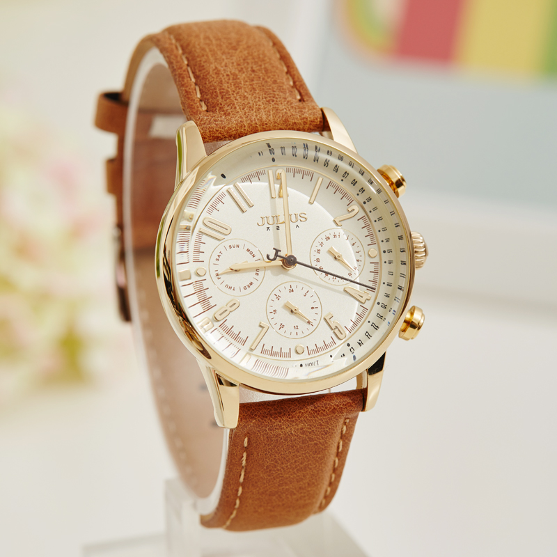 Real Three Dial Women s Watch Swis Mov t Hours Clock Fashion Dress Bracelet Sport Leather