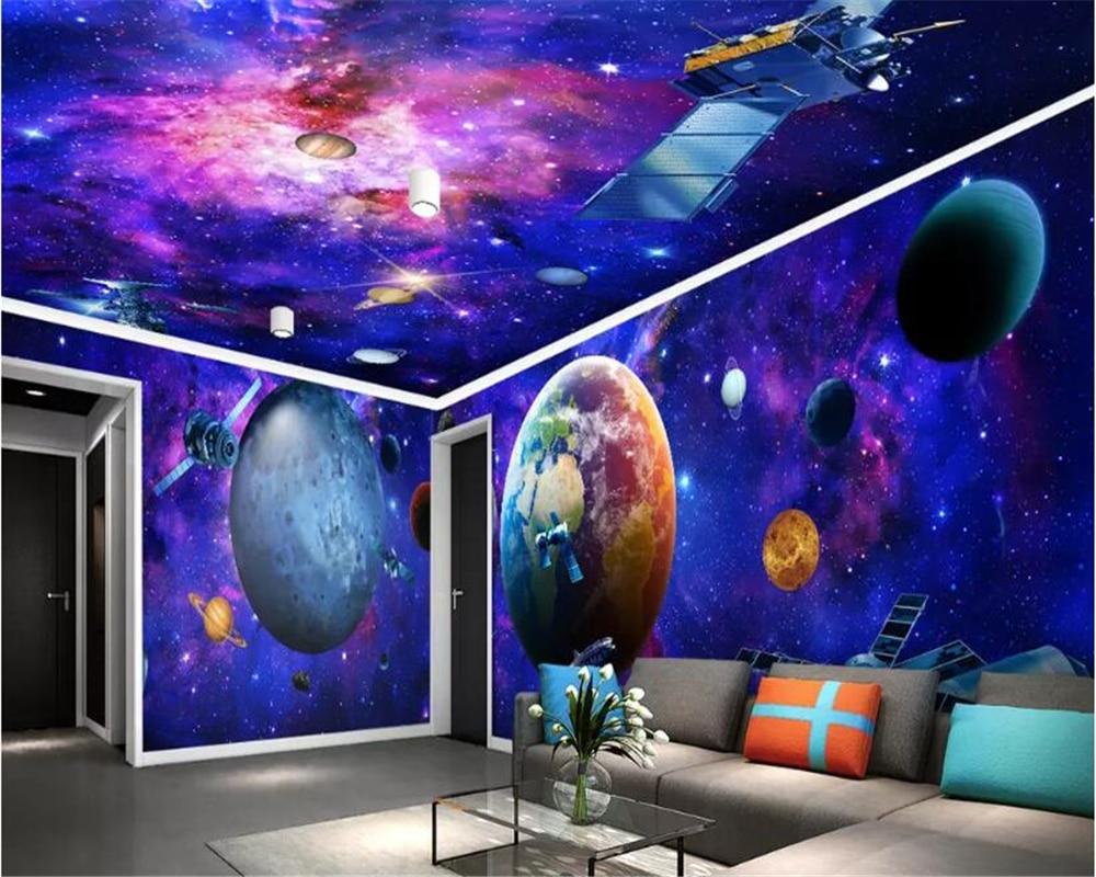 Beibehang Mural Kustom Abstrak Foto Wallpaper Alam Semesta Galaxy Bumi 3D Tema Ruang Wallpaper Langit langit