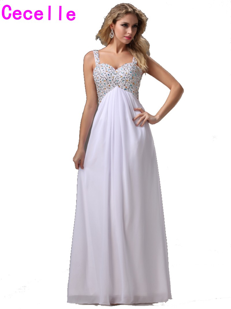 2017 Hot Sexy Long White Empire Evening Dresses Gowns With Straps For Teens Crystals Chiffon Floor