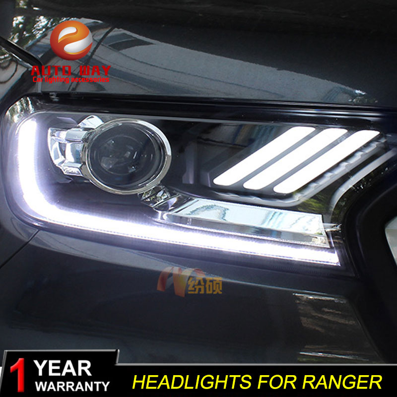Car Styling Head Lamp case for Ford Ranger 2013-2015 Headlights LED Ford Ranger Headlight DRL Lens Double Beam Bi-Xenon HID car styling head lamp for ford focus mk2 headlights 2009 2013 led headlight drl bi xenon lens high low beam parking fog lamp