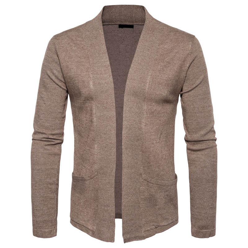 Spring Autumn New Men Sweater Long Sleeve No Button Casual Knitted Cardigan Mens Fashion Slim Fit Sweaters