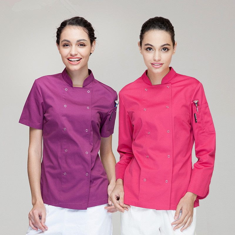 Colored Chef Coats Female Unique Chefwear Western Kitchen Chefs Jackets Uk Hotel Chef Uniforms For Women Free Shipping