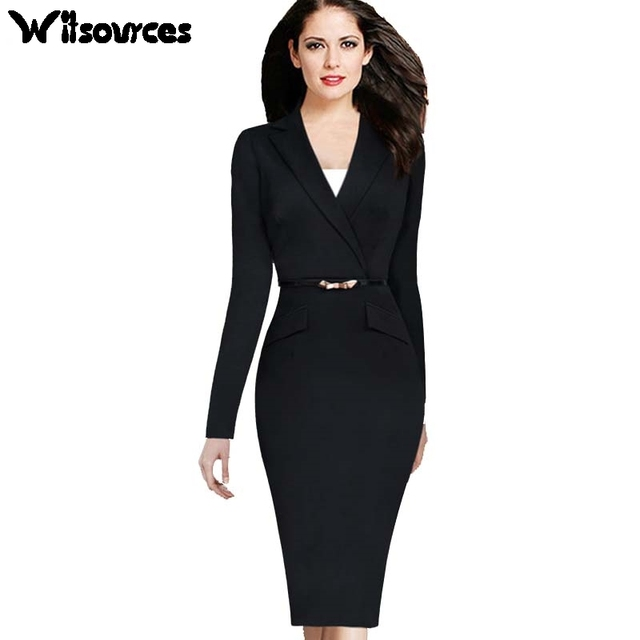 Witsources women long sleeve blazer collar work dresses 2017 new fashion  plus size solid black pencil OL dress SD3647 0fba9bd2793e