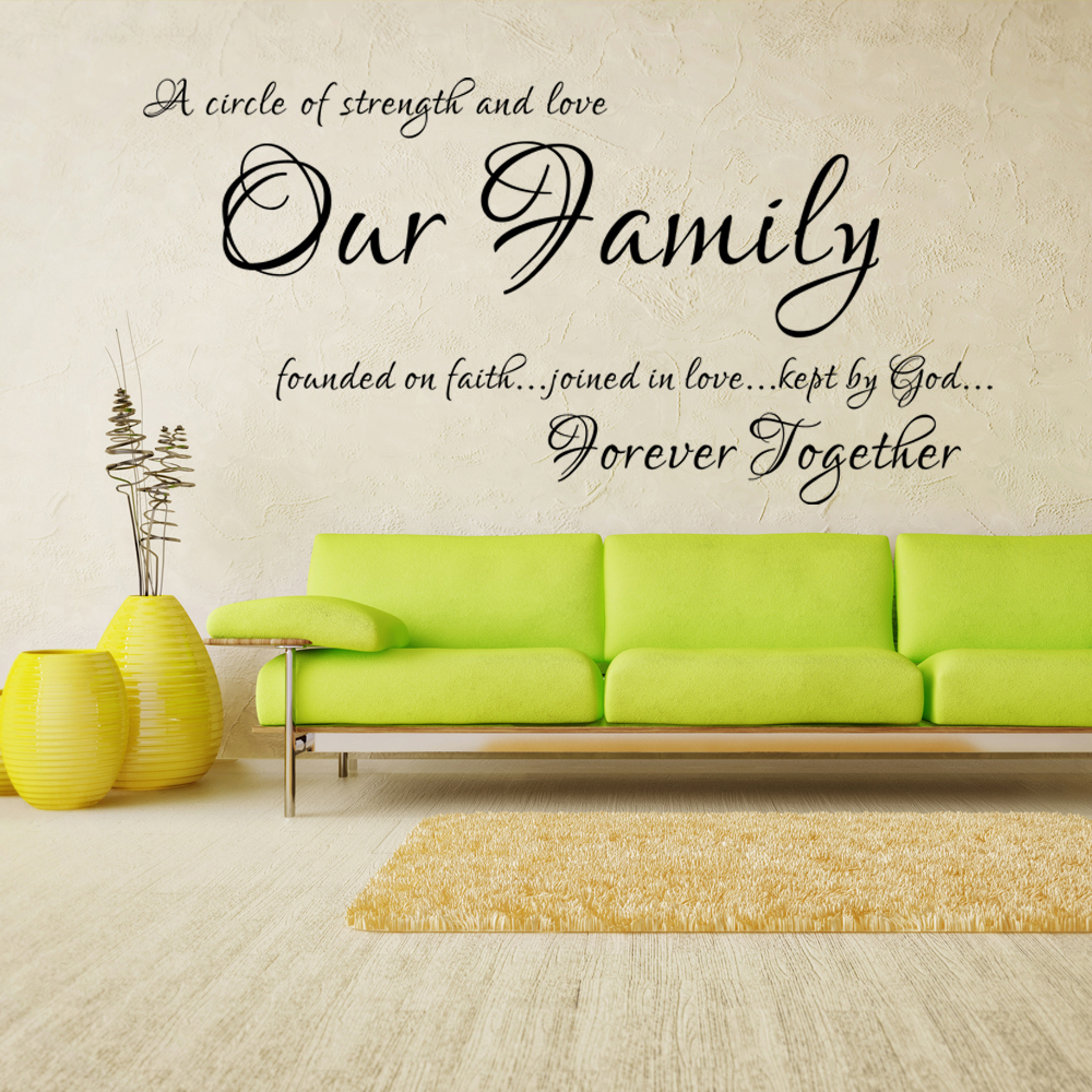Our Family A Circle Of Strength And Love Family Wall Decal Vinyl Lettering Quote Home Decor 27.9cm x 55.9cm