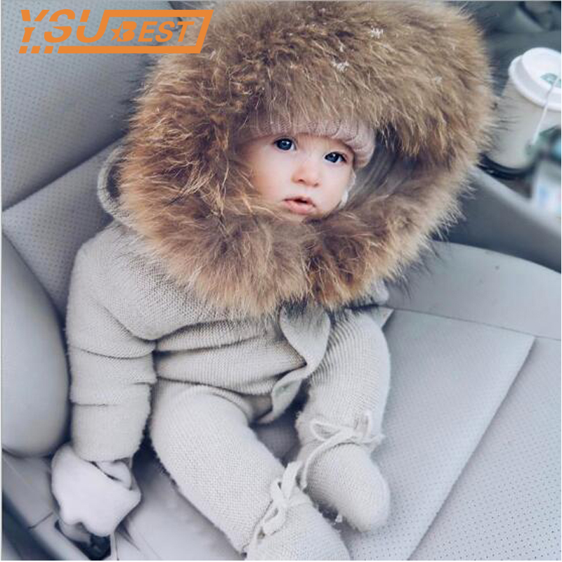 2018 Baby Knit Romper Autumn New Romper Knitted Baby Sleeping Romper Is Stereo Newborn Baby Clothes Baby Romper With Fur Collar