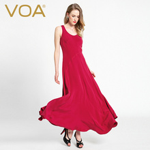 VOAIn the spring of 2017 new heavy silk dress female sleeveless silk dress red asymmetric simple slim A6289