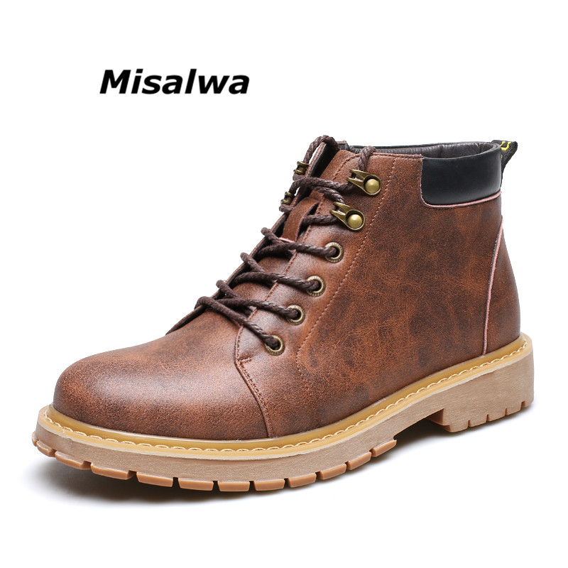 Misalwa New Arrival Spring Men Fashion Motorcycle Martin Boots Male PU Leather Leisure Ankle Boots Lace Up Shoes FreeShipping