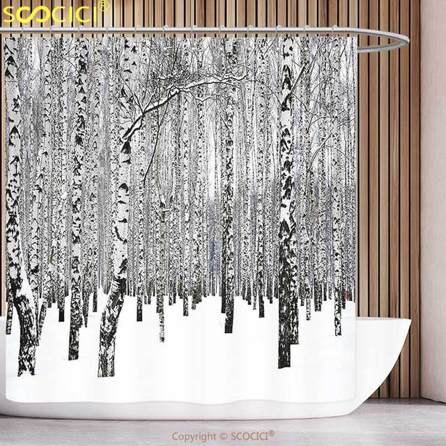 Unique Shower Curtain Winter Decorations Birch Grove In Forest With Leafless Tree Branches Nature Image