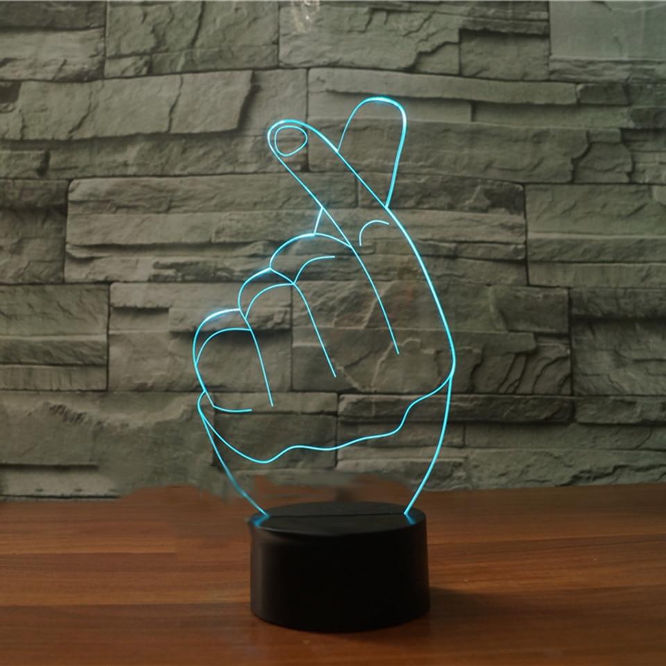 3D Led 7 Красочные прикроватные атмосферу Decor Поп-жесты сердце любовь настольная лампа сна Святого Валентина чем сердце ночные огни подарки