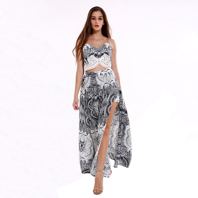 af4d451c7 2017 Women Sexy Vintage Floral Strappy Lace Up Backless Crop Tops High  Waist Split Maxi Long Skirt Summer Beach Two Piece Sets