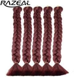 Razeal термостойкие Синтетические волосы ткань Xpression вязанная косами красный плетение волос 18 дюймов 8 шт./лот высокое Температура