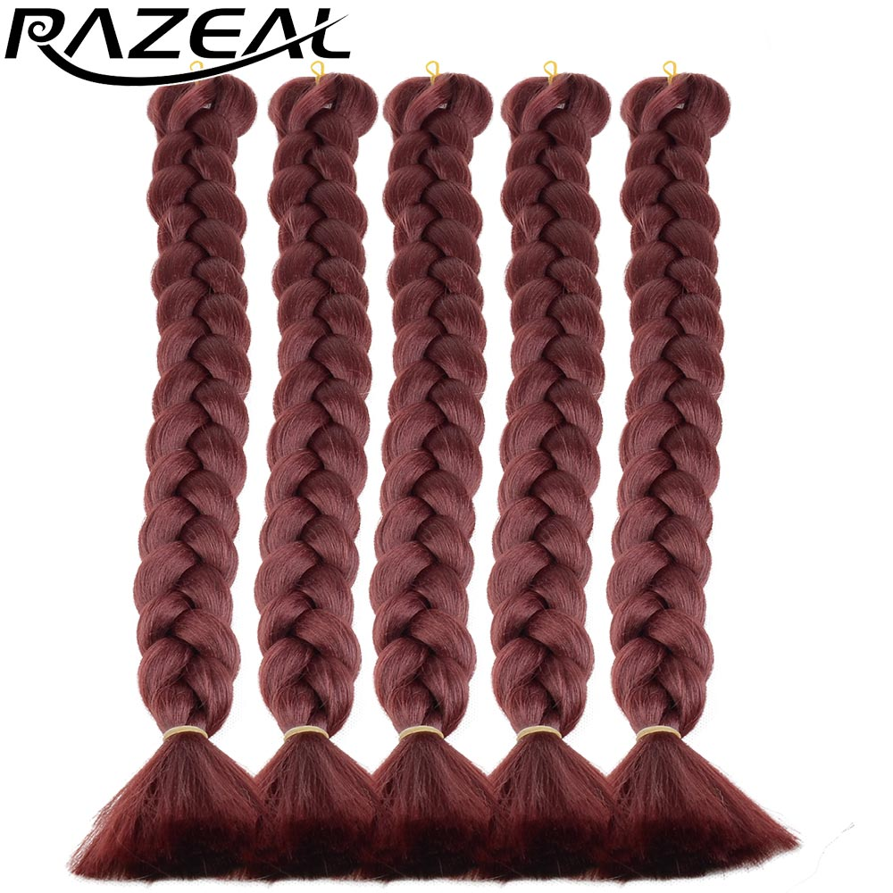 Razeal Heat Resistant Synthetic Hair Weave Xpression Crochet Braids Red Green Braiding Hair 18 Inch 8Pcs/Lot High Temperature