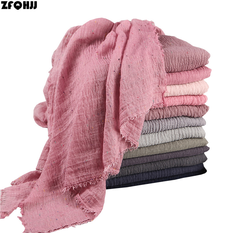 ZFQHJJ Women Colorful Cotton Plain Crinkle Wrinkle Muslim Hijab Scarf Turkish Turkey Scarves Oversized Large Long Shawl Wraps