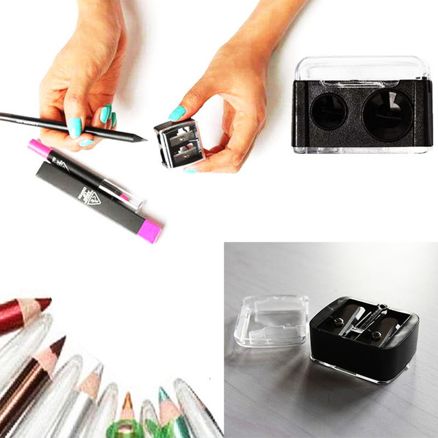 Fashion 2 Holes Precision Cosmetic Pencil Sharpener For Eyebrow Lip Liner Eyeliner Pencil School Office Supply Gift Hot Sale 5