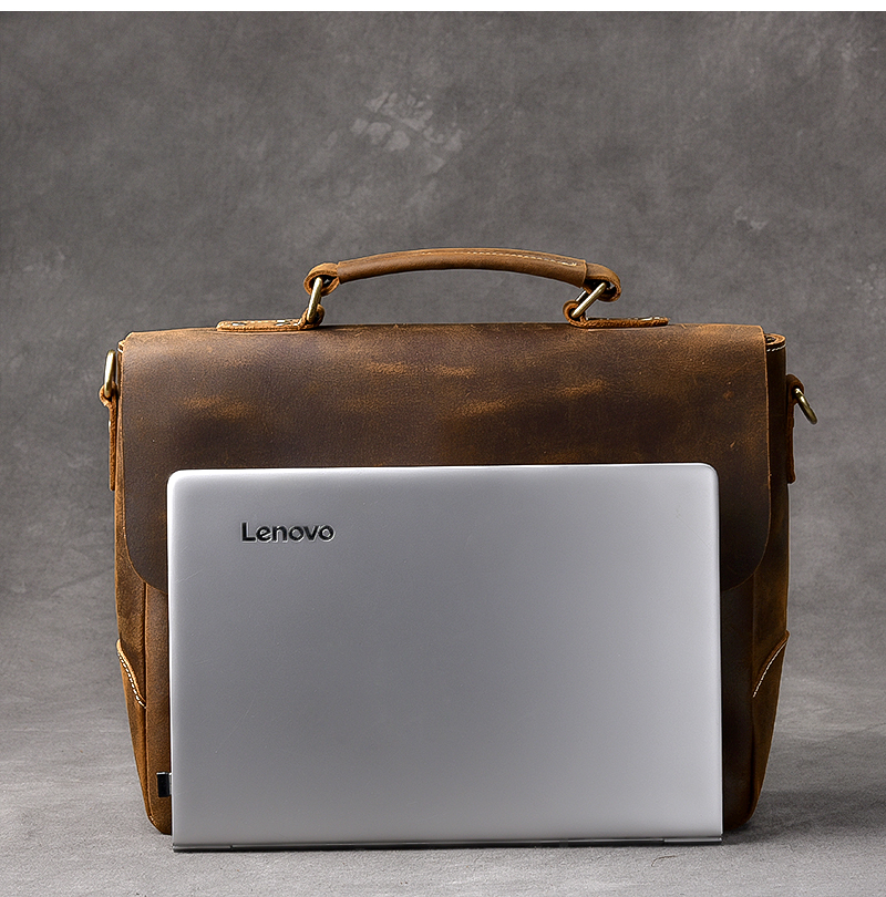 Luxury Leather Shoulder Bag laptop size