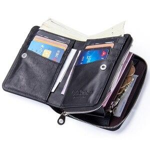 Image 3 - 2020 novo feminino curto zíper bolsas de pele de carneiro carteira titular do cartão com bolsos de moeda
