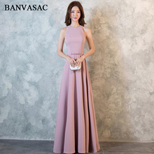 BANVASAC 2018 Elegant Halter Bow Sash A Line Satin Long Evening Dresses Party Off The Shoulder Zipper Back Prom Gowns