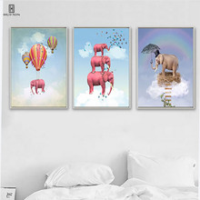 Three Pink Elephant Folded One By One Surrounded By Some Beautiful Butterfly Decorative Canvas Posters Paintings For Home Decor one amazing elephant