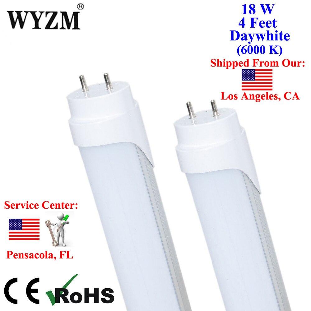 4 шт./лот 1200 мм 18 Вт 4ft t8 светодиодные трубки светильника матовое покрытие 6000 К холодный белый G13 База 48 Вт люминесцентных замены лампы
