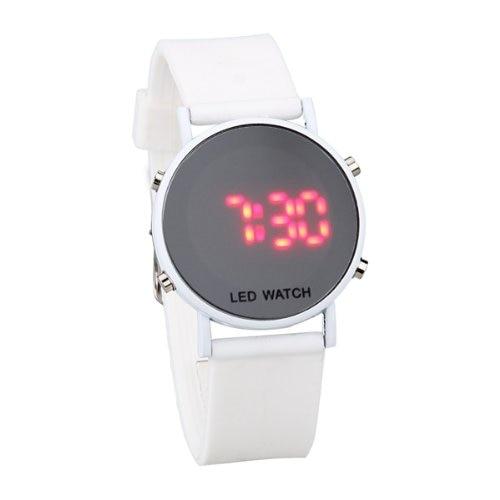 YCYS!Silicone LED Watch Ladies Watch Sport Bracelet Watch White Strap
