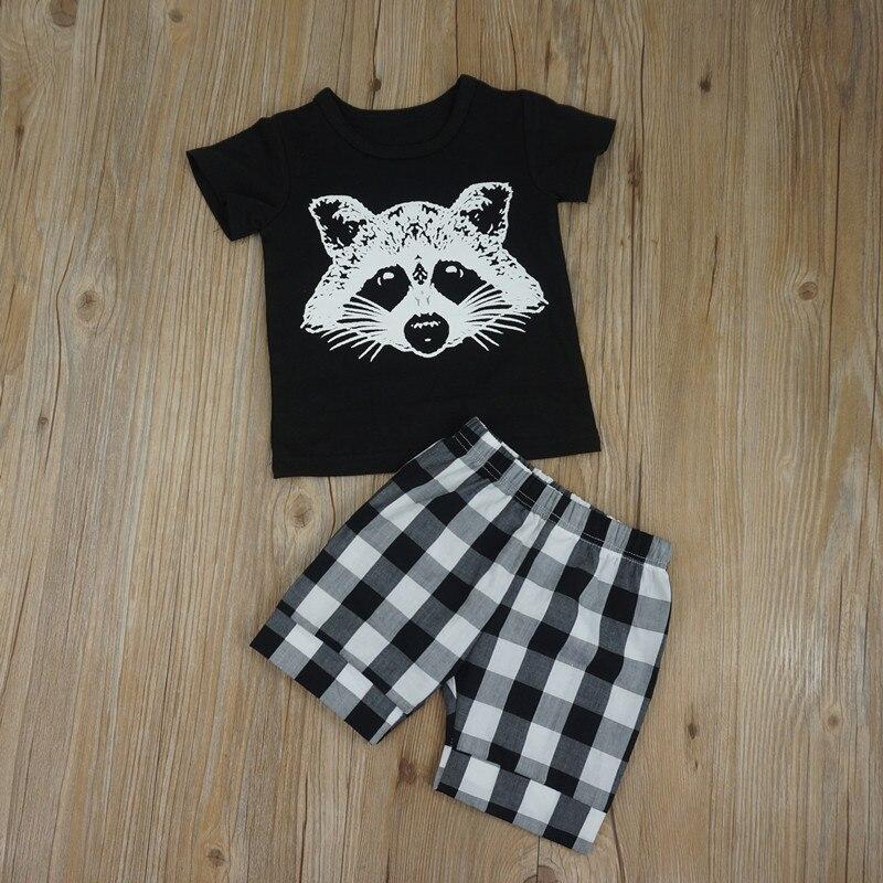 Летние Комплект одежды для маленьких мальчиков короткий рукав Футболка + Шорты для женщин 2 шт. мультфильм лиса глава решетки полосатая футболка костюм комплект одежды для мальчиков