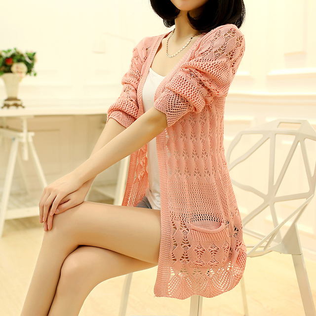 Knitted Cardigan Loose Pocket Hollow Long Sleeve Women Sweater 1