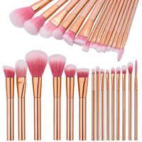 2017 Fashion Rose Gold 15pcs Professional Face Foundation Makeup Brushes Set Foundation Powder Eyelash Cosmetic Brush