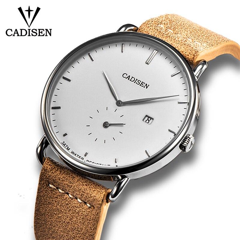CADISEN New Fashion Mens Watches Quartz Clock Ultra Thin Business Watch Mens Leather Wristwatch Waterproof Relogio MasculinoQuartz Watches   -