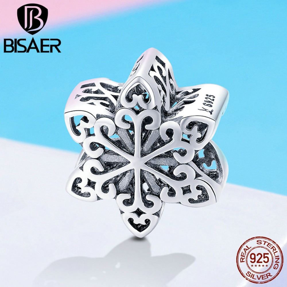 11.11 925 Sterling Silver Snowflake Charms Winter Snowflake Beads Fit Charm Bracelets for Women Beads Silver 925 Jewelry ECC719 cute snowflake hairpin for women