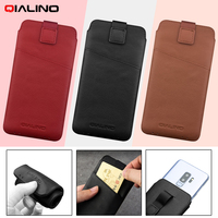 QIALINO Phone Case For Smausng Galaxy S9 S8 Case Luxury Genuine Leather Soft Phone Pouch Cover