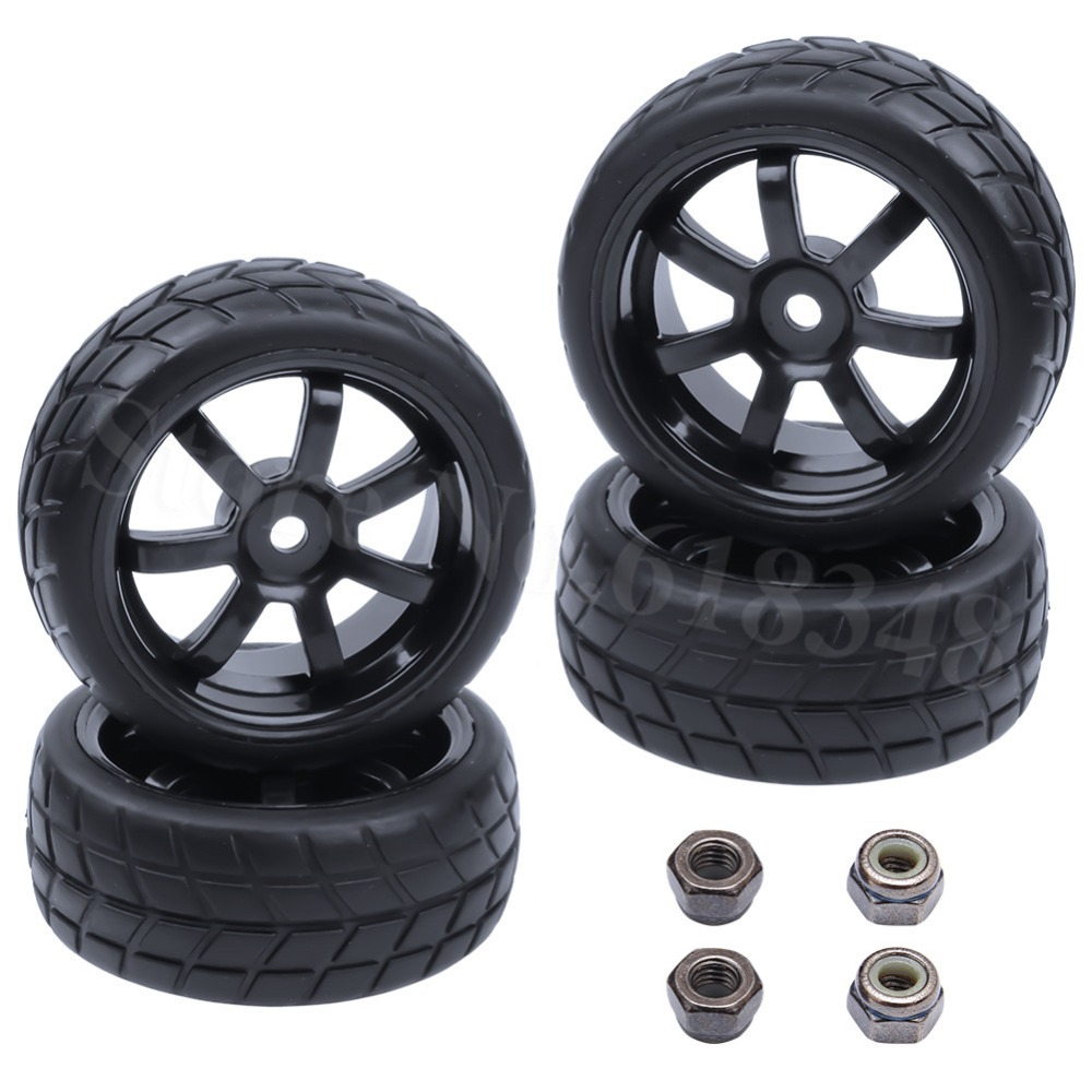 4pcs 26mm Rubber Vehicle Tire & Wheels Hex 12mm Foam Insert 1/10 On Road Flat Run Car Parts HPI Tamiya HSP