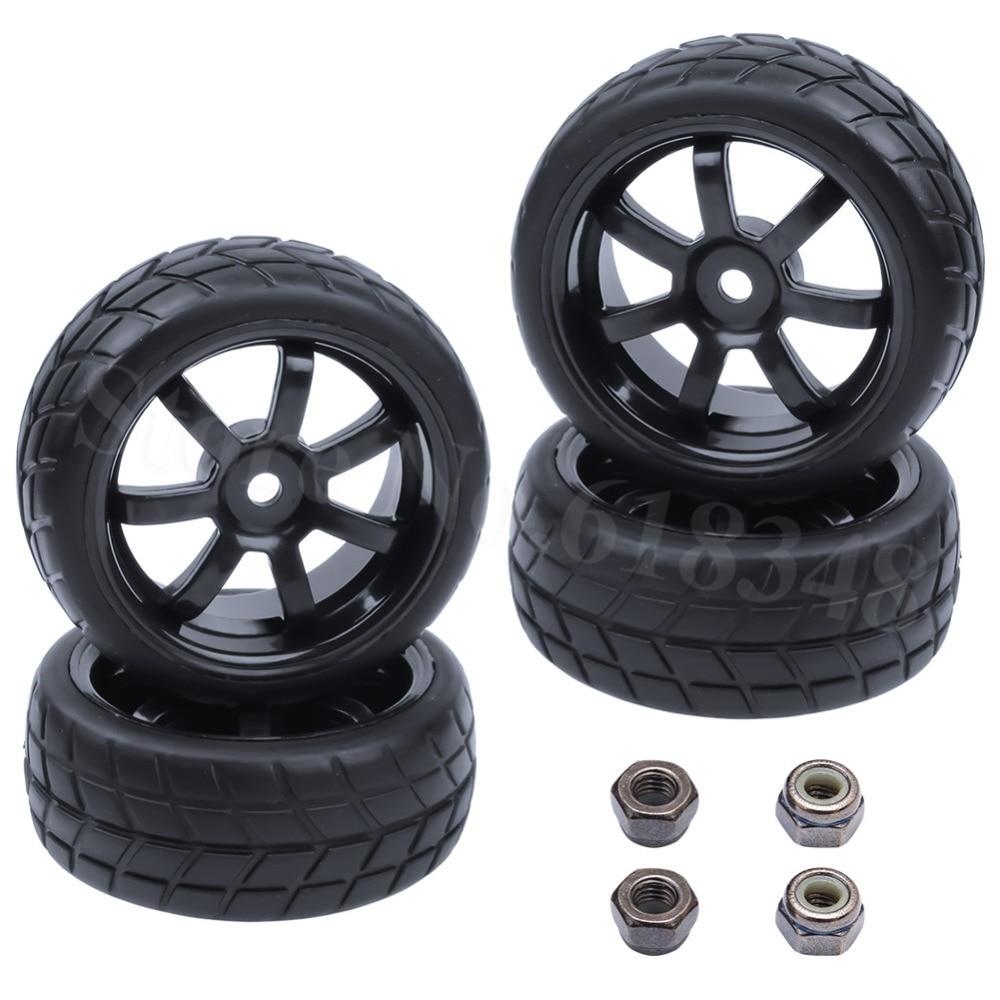 4vnt 26mm guminių RC transporto priemonių padangų ir ratų šešiakampis 12 mm putų įdėklas 1/10 ant kelių plokščių važiavimo automobilių dalių HPI Tamiya HSP