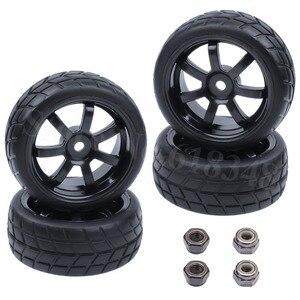 4pcs 26mm Rubber RC Vehicle Tires & Wheels Hex 12mm Foam Insert 1/10 On Road Flat Run Car Parts HPI Tamiya HSP