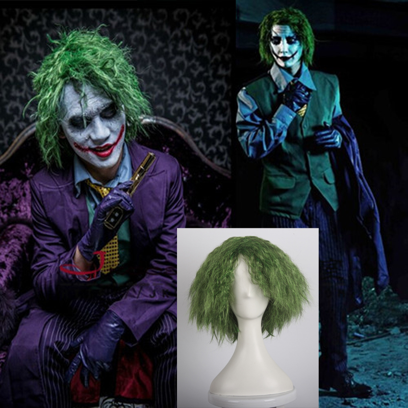 Knight Cosplay Costume Comics Joker Curly Batman-The-Dark Synthetic Wig Wig-Cap Heat-Resistance