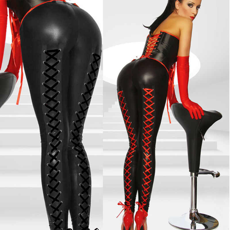 410728366b950c Detail Feedback Questions about New Women Sexy Stretchy Lingerie Black Faux  Leather Lace Up Leggings Wet Look Clubwear Fashion Gothic Pants Free  Shipping on ...