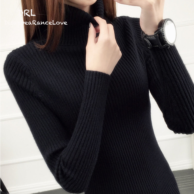 DRL Brand female turtleneck sweater Short design long-sleeve pullover thickening slim white tight-fitting sweater