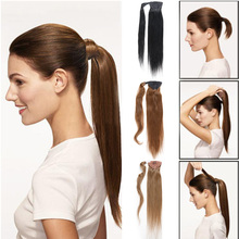 Ponytail Human Hair clip in Human Hair Ponytails 18 To 24 Inches Human Hair Ponytail Extensions Pure Color Drawstring Ponytail