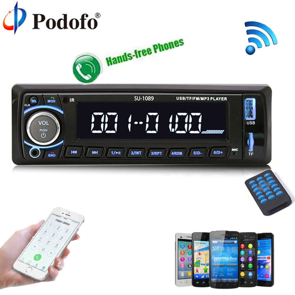 Podofo Autoradio Car Radio Stereo Player Bluetooth 4 12V car stereo Player In-dash 1Din Phone AUX-IN MP3 FM/USB/remote control
