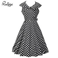 Ruiyige Women Summer Casual Dresses 2017 Sexy Vestidos 1950s Retro Vintage Style Sleeveless Dot Swing Midi