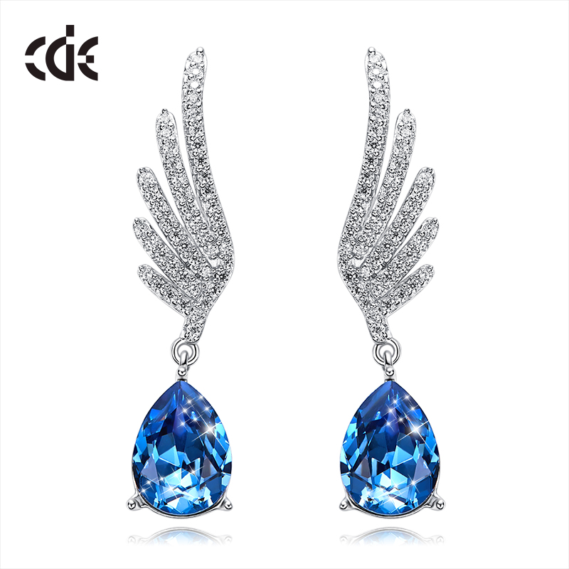 CDE 925 Sterling Silver Earrings Embellished with crystals from Swarovski Angel Wings Water Drop Earrings For Women Ear JewelryCDE 925 Sterling Silver Earrings Embellished with crystals from Swarovski Angel Wings Water Drop Earrings For Women Ear Jewelry