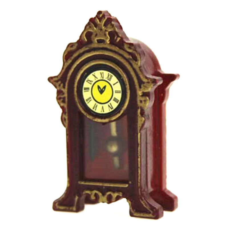 1/12 Mini Wooden Dollhouse Miniature Accessories Pendulum Clock Simulation Furniture Model Toys For Doll House Decoration