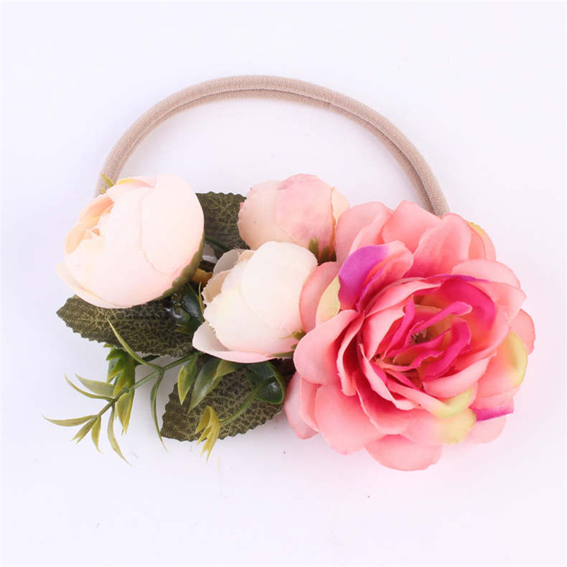 New Summer Flower Headband for Girls Elastic Hair Band Headwear Handmade DIY Crown Hair Accessories Children Photography props vintage bohemian ethnic colored tube seed beads flower rhinestone handmade elastic headband hair band hair accessories