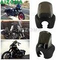 오토바이 헤드 라이트 마스크 w/Smoke Windshield 레트로 매트 블랙 프론트 페어링 하드웨어 키트 Harley Dyna FXDXT HD 1987-2017