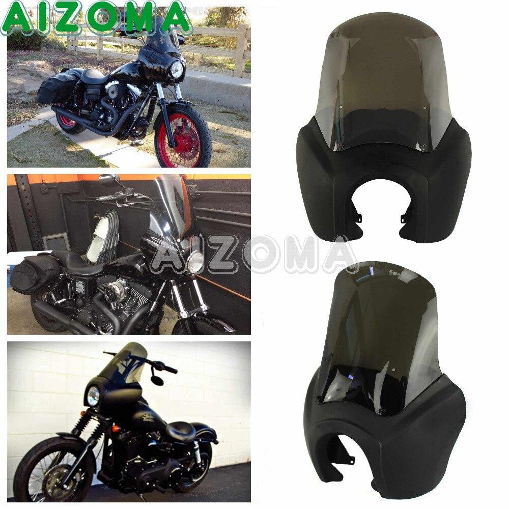 Moto Phare Masque w/Fumée De Pare-Brise Rétro Mat Noir Avant Carénage Matériel Kit Pour Harley Dyna FXDXT T- sport HD