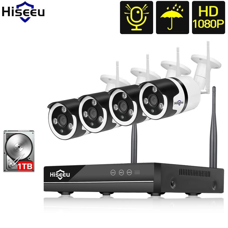 Wi-fi 4ch 1080 p NVR ip macchina fotografica della pallottola senza fili del cctv sistema di sicurezza con sentire il suono da la visione di video