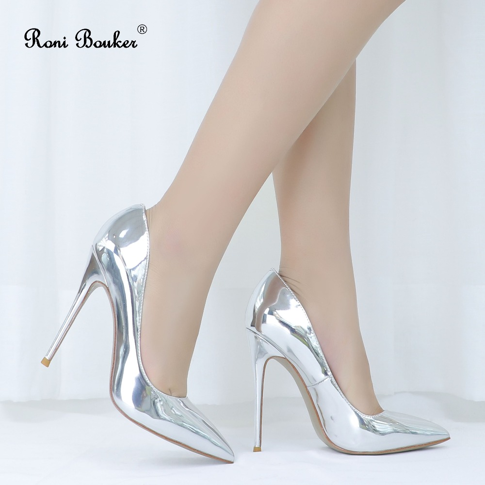 Roni Bouker Patent Leather Women Stilettos Pumps Fashion Pointed Toes Woman Wedding Party Shoes Female Sexy