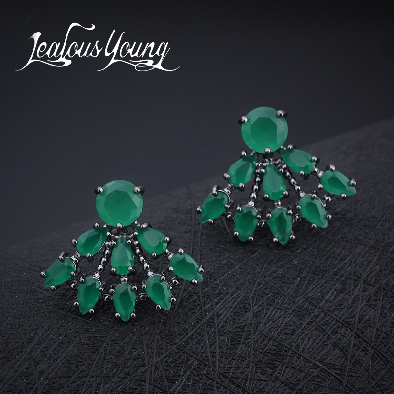 Hot Classical Water Drop Sector Stud Earrings With Green Cubic Zirconia Crystal For Women Party Earings Fashion Jewelry AE286